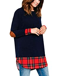 Kword Camicetta Donne O-Neck Shirt Manica Lunga Pullover Tops Lattice Plaid Camicie Casual