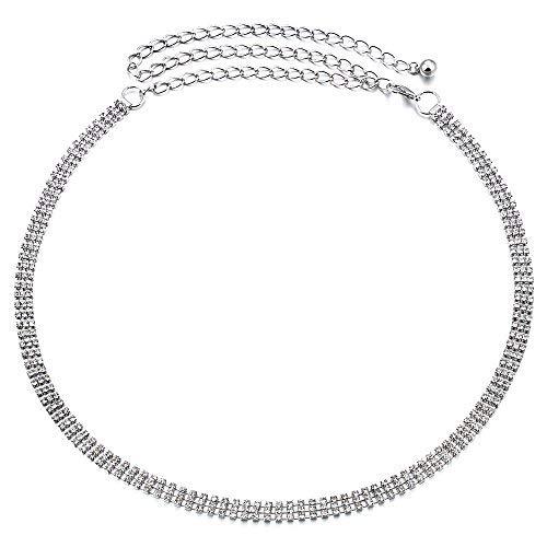 ihen Silber Diamant Diamant Strass Damen Gürtel Hüfte Ketten Gürtel - Silbern, One Size ()