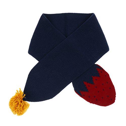 Stil Wolle Schal (Sharplace Winter Warm Stricken Wolle Kinder Jungen Mädchen Erdbeere Stil Schal - Marine, wie beschrieben)