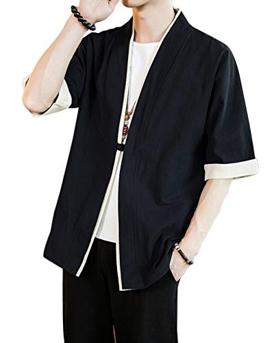 Uomo Cappotto Kimono Giapponese Mens Vintage Cloak Cotton Linen Blends Loose Fit Short Coat Jacket Cardigan Nero XL