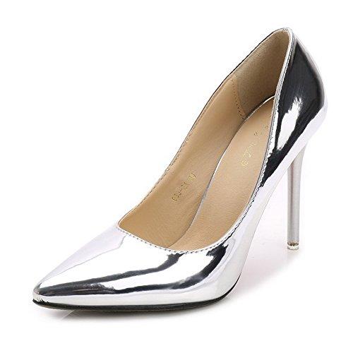 AalarDom Damen Stiletto Ziehen Auf Spitz Zehe Weiches Material Pumps Schuhe Silber-Pu Leder