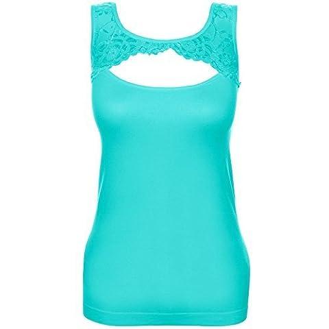 Damen Tanktop Push-Up Top Shirt mit Spitze außen Samtstoff innen Oberteil 20652, Farbe:Türkis;Größe:M / L