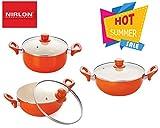 Nirlon Ceramic Cookware Set, 3-Pieces, Orange (42_44_46)