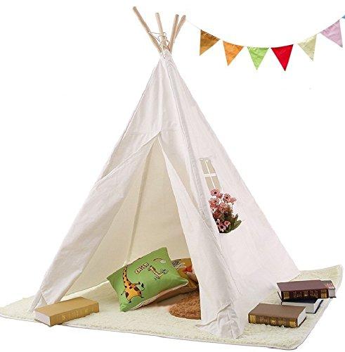 Vdo Vplay-Tipi pour Enfant Teepee Enfant Cabane Interieur Enfant Tipi  Enfant Fille Jardin en Bois 100%Coton Tente Indienne pour Les Filles et  garçons