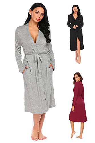 ADOME Damen Bademantel Sommer Morgenmantel Robe Saunamantel mit V Ausschnitt Lang Reisebademantel Kimono Pyjama für Herbst Frauen