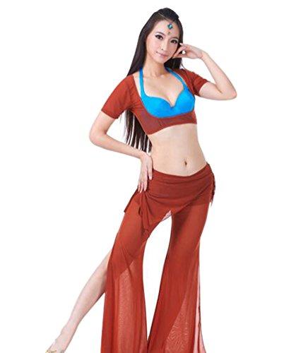 ZhiYuanAN 2Pcs Costume Danse Du Ventre Manches Courtes Tops & Pantalon Set Rouge Marron