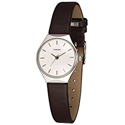 Time100 Fashion Simple Business&Casual Round Dial Coffee Genuine Leather Strap Ladies Watch #W50237L.02A