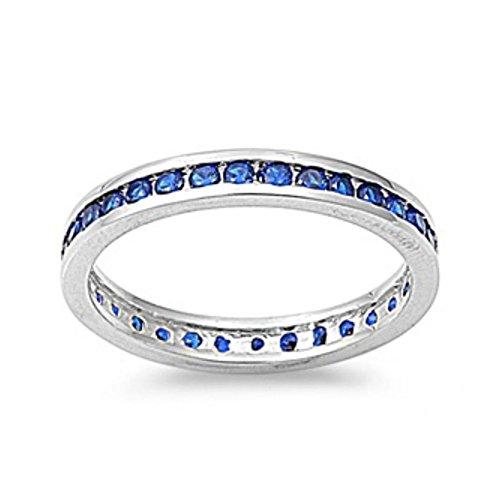 Sterlingsilber Ewigkeitsring 3 mm - Blauer Saphir Zirkonia (Ring Stein Blau Für Gold Männer 14k)