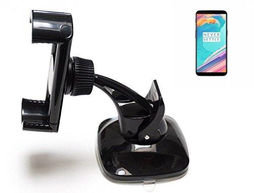 K-S-Trade Für OnePlus 5T kompakte Halterung Windschutzscheibe/Armaturenbrett schwarz Autohalterung KFZ Halter Scheiben-Halterung Armaturenbrett-Halter für OnePlus 5T
