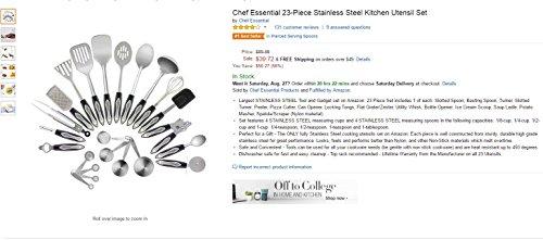 Küchenhelfer Edelstahl 23-Teiliges Set, Mit Edelstahl Messbecher und Messlöffel, Küchenutensilien Set Von Chef Essential