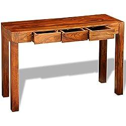 vidaXL Bois Massif de Sheesham Table Console avec 3 Tiroirs Table d'Appoint