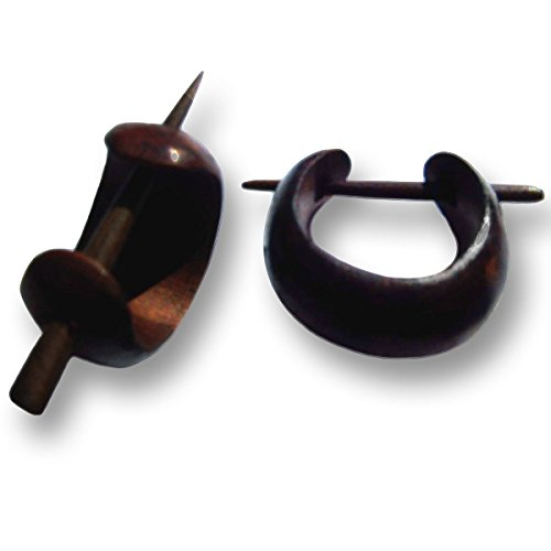 ISLAND PIERCINGS Kleine Ohrringe Kreolen im Piercing Design Holz Handarbeit ER018