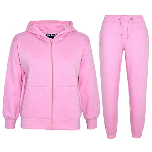 a2z4kids Kids Girls Boys Plain Tracksuit - Baby Pink - 7-8 Years