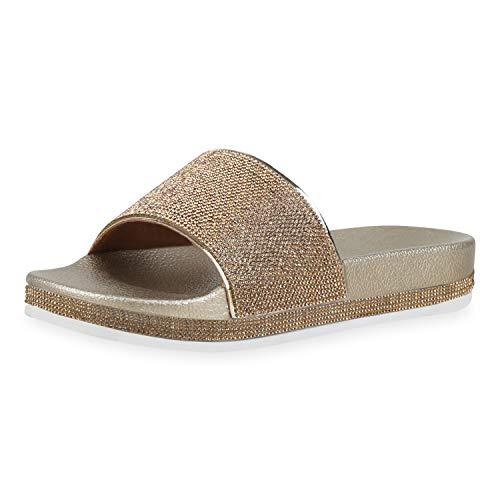 Sommer Gold Schuhe (SCARPE VITA Damen Sandalen Pantoletten Plateau Schlappen Sommer Schuhe Strass Metallic Pool Slides Badeschuhe 181000 Gold Metallic 38)