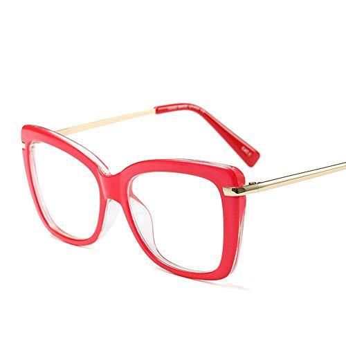 Shengjuanfeng-brillen Ultraleichter Brillengestell, Vintage Brillenglas mit klarer Glaslinse. Accessoires (Farbe : Red)