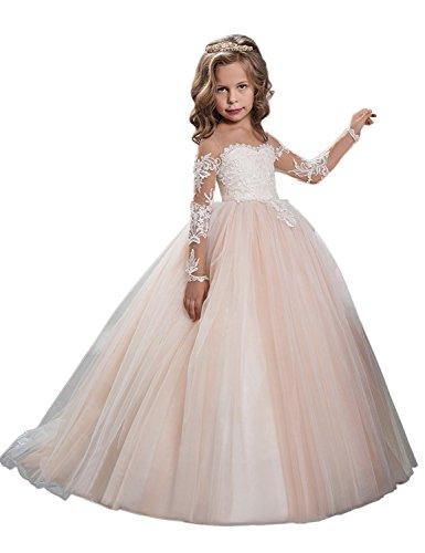 Kleid Cinderella Kleinkind (JYDRESS Blumen-Mädchen-Kleid-Spitze-Prinzessin-Hochzeits-Abschlussball-Kleid-erste)