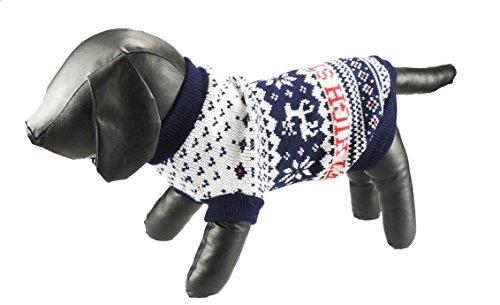 Liebenswürdig, Tee Tasse/Spielzeug Hunde verworrenen Knit Navy Blau Weiß Rentier Fair Isle Print Rolle Hals Jumper, in 5Größen erhältlich - Bootie Navy