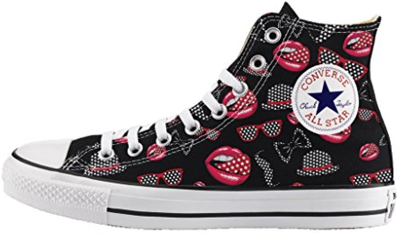 Converse Converse Converse Personalizzate All Star Alta NERA - scarpe artigianali - stampa PASSIONE ROSSA | Una Buona Reputazione Nel Mondo  03568f