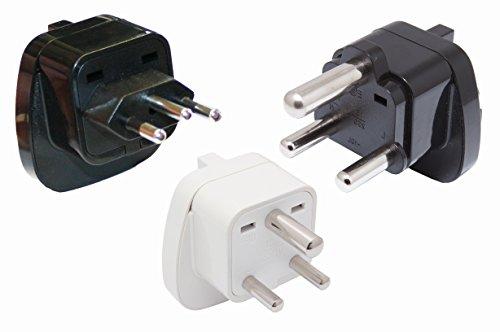 SET 3x Reisestecker Adapter für Südafrika D + M + N mit Schutzkontakt (Typ-n-stecker-adapter)