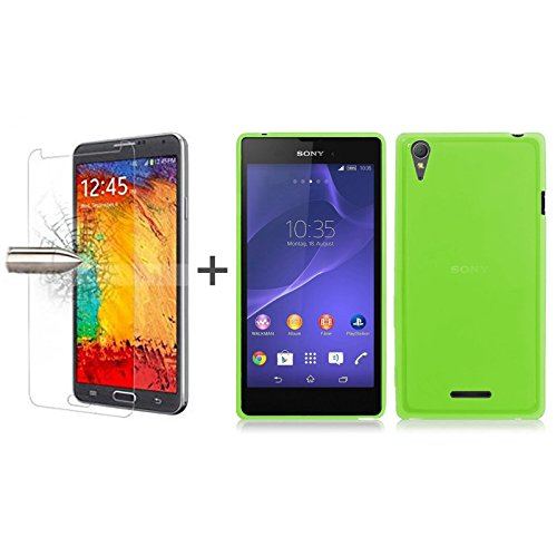 tbocr-pack-green-tpu-silicone-gel-case-tempered-glass-screen-protector-for-sony-xperia-t3-d5102-d510