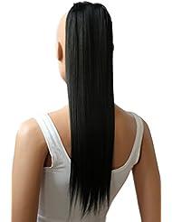 PRETTYSHOP Postiche postiche queue de cheval ondulée extension de cheveux queue de cheval 60 cm noir # 1 HCK1