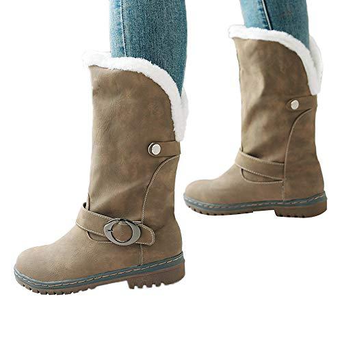 f0471bc09469 TianWlio Stiefel Frauen Herbst Winter Schuhe Stiefeletten Boots Winter  Warme Halten Schneestiefel Wildleder Stiefel Schuhe Schnallen Stiefel Khaki  35