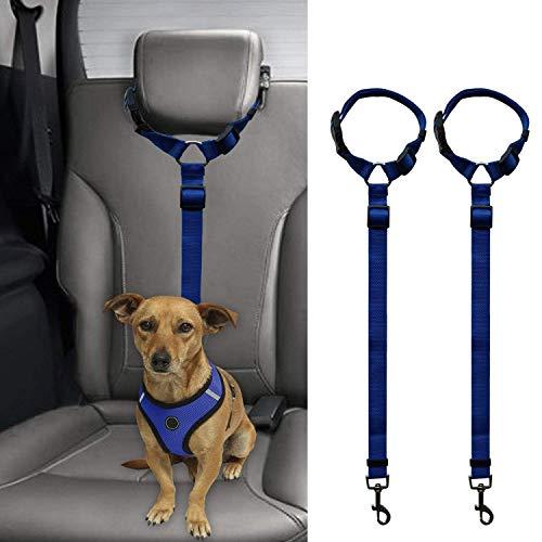 Cikuso 2 Packs Hundekatze Sicherheit Gurtband Auto Kopfstuetze Rueckhaltes Einstellbar Nylon Stoff Hunde Halter Fahrzeug Sicherheitsgurte Gurt Marineblau -