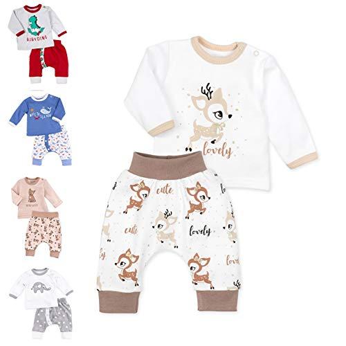 Baby Sweets Baby Set Hose + Shirt Unisex weiß beige braun | Motiv: Lovely Deer | Babyset mit 2 Teilen für Neugeborene & Kleinkinder | Größe 3 Monate (62)......