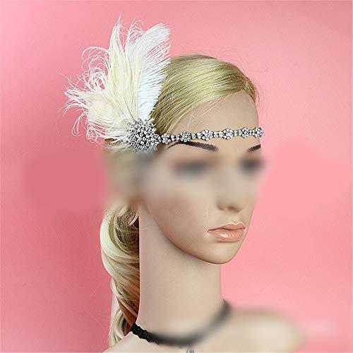 Ära 1920 Kostüm - KERVINFENDRIYUN YY4 Feder Haarband 20er Jahre Ära Gatsby Retro übertrieben Pfau Feder Haar Accessoires Stirn mit Quaste Haarband (Farbe : White)