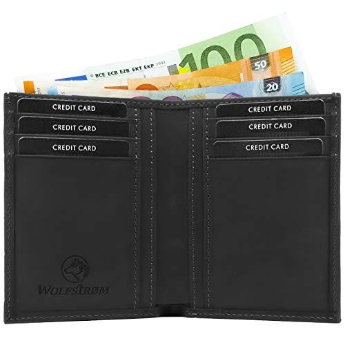 Wolfstrøm Geldbörse Sveynå - Slim-Wallet ohne Münzfach, mit RFID-Blocker - Herren-Portemonnaie Hochformat mit Scheinfach, Herren-Geldbörse, Herren-Geldbeutel, Portmonee - Schwarz