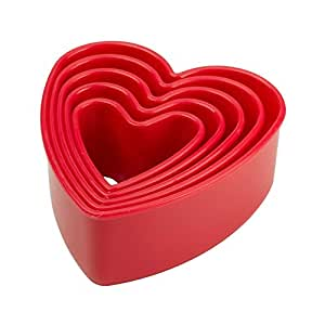 Tala 5-Piece Plastic Heart Cookie Cutter, Red