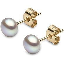 Kimura Perles Kimura Pearls - E11950 - 27 - Pendientes de de oro amarillo (9k) con perla de agua dulce