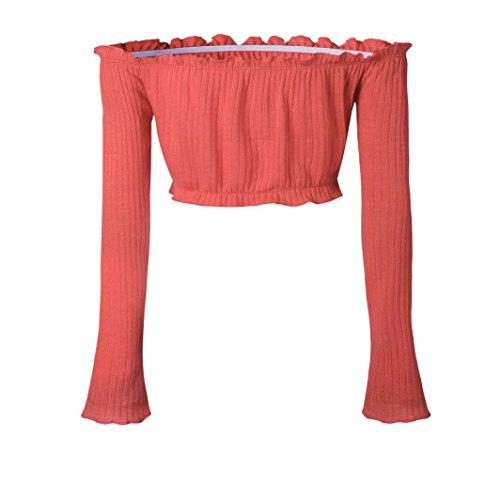 Yogogo Aux femmes Frill Bardot Hors épaule Ribbed Chemise en coton à manches longues Chemise Blouse Pastèque rouge