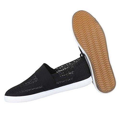 Damen Halbschuhe Schuhe Slipper Schwarz Schwarz