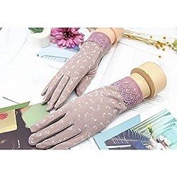 Huasho Guantes de conducción con Estampado de algodón con protección Solar de Primavera y Verano para Mujer Guantes de Verano Transpirables a Prueba de resbalones,púrpura