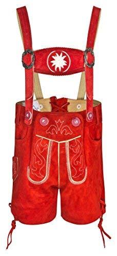 FROHSINN Baby und Kinder Trachtenlederhose - (rot,110) - Kurz mit abnehmbaren Hosenträgern - Trachten Lederhose Oktober Jungs und Mädchen - Alle Größen!