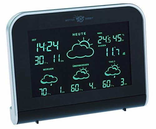 TFA Dostmann Nimbus Wetterstation, für Innen und Außen mit Funk Außensensor, 4 Tage Vorhersage von Meteorologen, Luftfeuchtigkeit, inkl Funkuhr