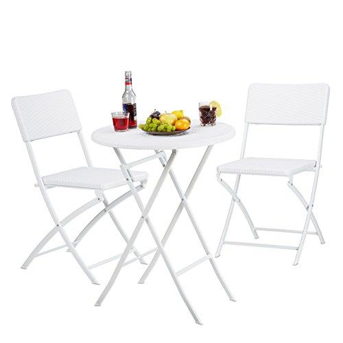 Relaxdays Gartenmöbel Set Bastian, klappbar, 3-teilig, Rattan-Optik, klein, HBT Tisch: 75,5 x 60 x...