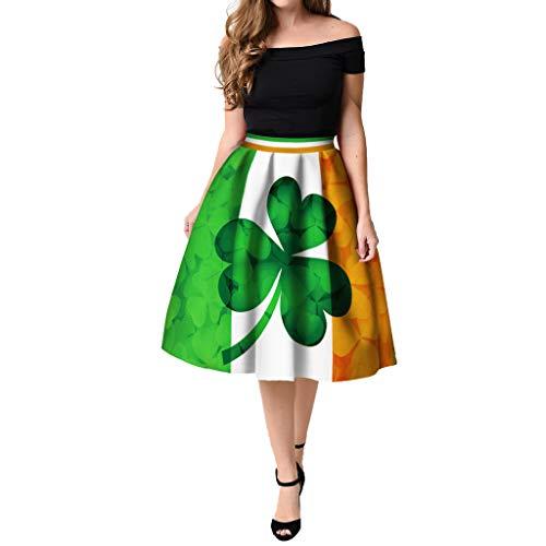 B-commerce Damen St Patrick's Day Clover Gedruckt Plissee -
