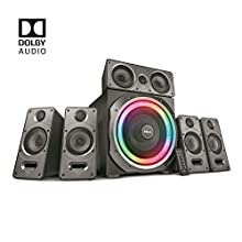 Trust Gaming GXT 698 Torro Dolby Digital RGB-Illuminated 5.1 Speaker Set for PC, PS4 and Xbox One, Dolby Surround Sound, Optical, 3.5 mm and Six Channel Direct Audio Inputs, UK Plug, 180 W - Black