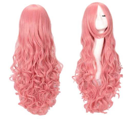 Perücken Curly Pink Kostüm - DOXMAL Kostüm Dame Long Curly Full Hair Perücken Cosplay Kostüm Halloween Party Perücke