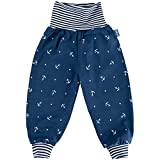 Lilakind' Baby Kinder Hose Babyhose Kinderhose Pumphose Jersey Anker Sterne Streifen Blau Gr. 98/104 - Made in Germany