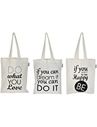 Accent Home Fabric Ecru Reusable Shopper Bag - Set Of 3 (AHTOTBG-PRNTQT1-ST3)