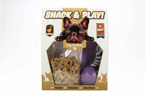 big buddy® Snack & Play Geschenkset Leckerlie 2 in 1 Spielball Snackbag DESIGN MAUVE