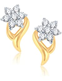 VK Jewels Shinning Star Gold And Rhodium Plated Alloy Earrings for Women & Girls made with Cubic Zirconia -ER1017G [VKER1017G]
