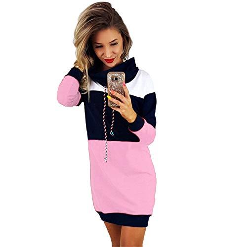 B-commerce Winter mit Kapuze Kleid - Frauen Collared Langarm Kleid Damen Bodycon Short Mini Pullover Sommerkleid (Frauen Down Long Puffer Mantel)
