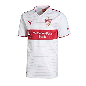 PUMA Herren VFB Stuttgart Trikot Home Shirt Replica Sponsor Logo, White/Team Regal Red, S, 743365 01