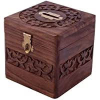 Moon Craft Handcrafted Wooden Mini Square Shape 4 inches Money Bank Safe Kids /Saving Box Piggy Bank // GULLAK