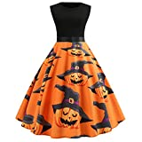 MIRRAY Damen Halloween Kürbis Abendkleider Ärmellos O Hals Abend Druck Partei Prom Swing Kleid Orange S-2XL