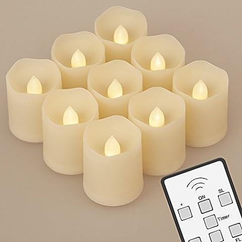 NONNO & ZGF Set von 9 batteriebetriebene LED Flammenlose Kerzen mit Fernbedienung Erweiterte Lichtzeit Dimmbar f¨¹r Geburtstagsfeiern Hochzeiten Festivals Dekorationen Weihnachten Votive Kerzen